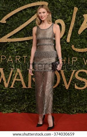 LONDON, UK - NOVEMBER 23, 2015: Karlie Kloss at the British Fashion Awards 2015 at the Coliseum Theatre, London. November 23, 2015  London, UK Picture: Dave Norton / Featureflash - stock photo