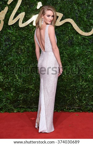 LONDON, UK - NOVEMBER 23, 2015: Rosie Huntington-Whiteley at the British Fashion Awards 2015 at the Coliseum Theatre, London. November 23, 2015  London, UK Picture: Steve Vas / Featureflash - stock photo