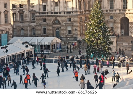 LONDON,UK-NOVEMBER 28: Skaters Beating the Winter Blues at the Annual Christmas Ice Rink at the Historic Somerset House  on November 28, 2010 in London.