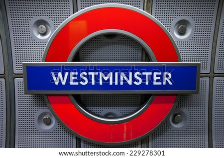 LONDON, UK - NOVEMBER 4TH 2014: A sign for Westminster Underground station in London on 4th November 2014. - stock photo