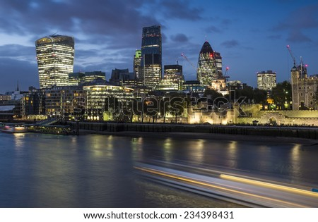 LONDON, UK - November 8th 2014 - Early Evening view of the City of London from Tower Bridge - stock photo