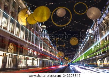 LONDON, UK - NOVEMBER 24TH 2015: The stunning Christmas lights on Regent Street in London, on 24th November 2015. - stock photo
