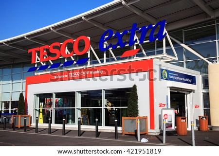 London, UK â?? November 19, 2011:  The entrance to the Tesco Extra supermarket store in Brent Park Wemble