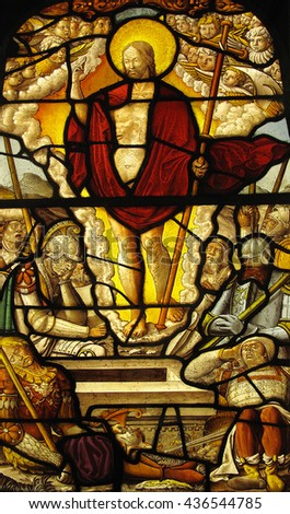 London, UK, November 1 2009 - The Resurrection of Christ shown in an image on a medieval 16th century stained glass panel from the cloisters of Steinfeld Abbey - stock photo