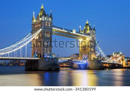 LONDON, UK - NOVEMBER 17, 2015: Tower Bridge in London at night on November 17 2015 - stock photo
