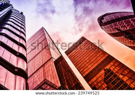 LONDON, UK - NOVEMBER 16, 2014: View of Gherkin skyscraper (30 St Mary Axe). effect vintage - stock photo