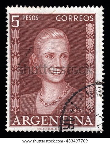 London, UK, November 28 2010 - Vintage 1952 Argentina cancelled postage stamp showing an engraved image of Eva Peron affectionately known as Evita - stock photo