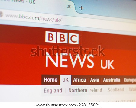 LONDON, UK - OCTOBER 30, 2014: British home page of the BBC News web site - stock photo