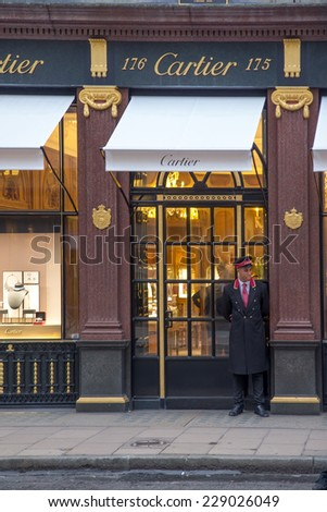 LONDON, UK - OCTOBER 17, 2014: Cartier has three flagship boutiques: Paris, London, and New York. - stock photo