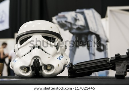 LONDON, UK - OCTOBER 28: Display of replicas of Star Wars' Storm Trooper helmet on display at the London Comicon MCM Expo. October 28, 2012 in London. - stock photo