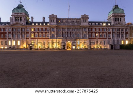 London . UK - 11 October  2014 Horse Guards Parade - a large parade ground off Whitehall in central London - stock photo