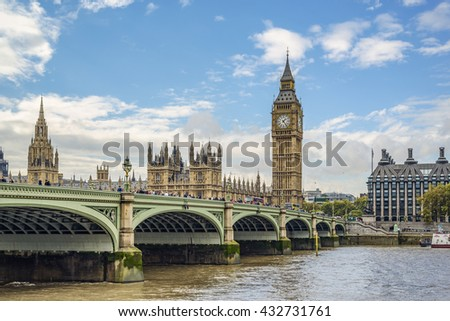 LONDON, UK - OCTOBER 11: Houses of Parliament, Elizabeth Tower (Big Ben) and Westminster Bridge over the river Thames on oct 11 2014 in London, United Kingdom, Europe