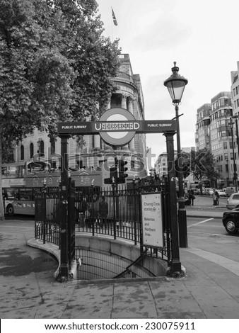 LONDON, UK - OCTOBER 23: London Underground station in Trafalgar Square on October 23, 2013 in London, UK - stock photo