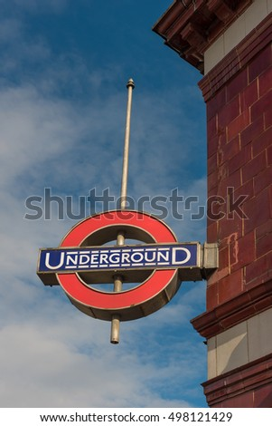 London. UK. October 2019. Mornington Crescent Underground (tube) Station
