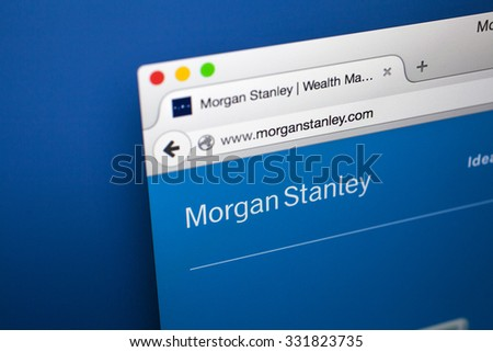 LONDON, UK - OCTOBER 22ND 2015: The homepage of the official Morgan Stanley website, on 22nd October 2015.