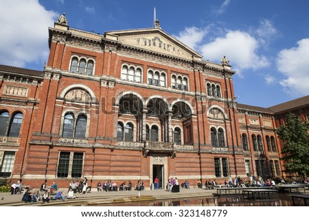 LONDON, UK - OCTOBER 2ND 2015: The Victoria and Albert Museum viewed from the inner Courtyard in London, on 2nd October 2015. - stock photo