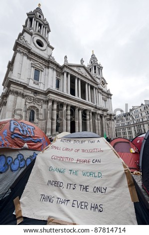 LONDON, UK -OCTOBER 31:Protesters tents around St.Paul's Cathedral filled with slogans on October 31, 2011 in London.