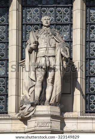 LONDON, UK - OCTOBER 1ST 2015: A sculpture of Prince Albert on the facade of the Victoria and Albert Museum in London, on 1st October 2015. - stock photo