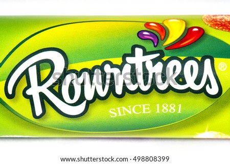 LONDON, UK - OCTOBER 13TH 2016: A close-up of the Rowntrees logo on one of their confectionery products, pictured over a plain white background on 13th October 2016.
