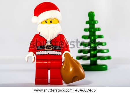 LONDON, UK - OCTOBER 15TH 2015: A Lego minifigure toy of Santa Claus or also known as Father Christmas, on 15th October 2015.