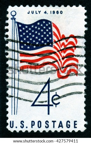 London, UK, October 12 2007 - Vintage 1960 United States of America cancelled postage stamp commemorating July 4th Independence Da - stock photo