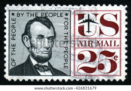 London, UK, October 27 2007 - Vintage 1959 United States of America cancelled postage stamp showing a portrait of Abraham Lincoln - stock photo