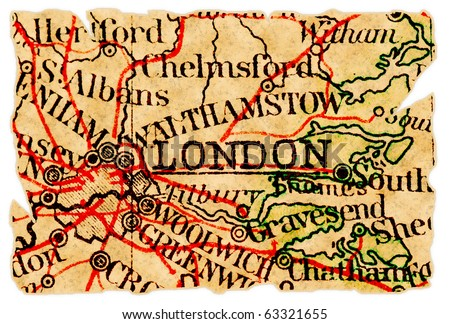 London, UK on an old torn map from 1949, isolated. Part of the old map series. - stock photo