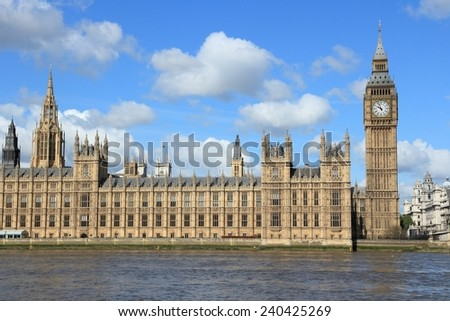 London, UK - Palace of Westminster (Houses of Parliament) with Big Ben clock tower. UNESCO World Heritage Site. - stock photo
