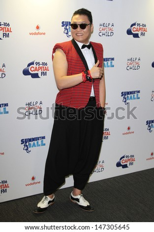 London, UK. Psy at Capital FM Summertime Ball - Media Room , at Wembley Stadium, London. June 9th 2013