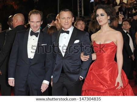 London, UK.  231012. Ralph Fiennes, Daniel Craig and Berenice Marlohe at the Royal World Premiere of the film Skyfall held at the Royal Albert Hall in Kensington. 23 October 2012.  - stock photo
