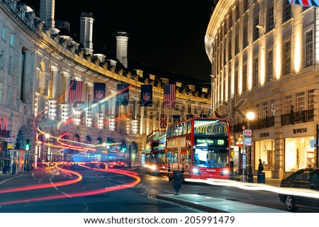 LONDON, UK - SEP 27: London Street view at night on September 27, 2013 in London, UK. London is the world's most visited city and the capital of UK.
