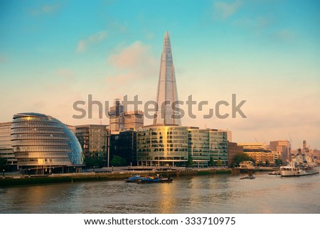 LONDON, UK - SEP 27: The Shard and urban architecture on September 27, 2013 in London, UK. the Shard is currently the tallest building in the European Union - stock photo