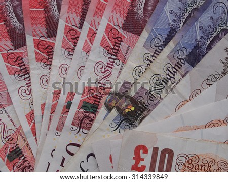 LONDON, UK - SEPTEMBER 05, 2015: British Pound banknotes currency of the United Kingdom - stock photo