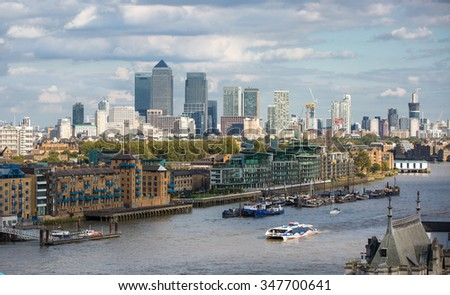 LONDON UK - SEPTEMBER 19, 2015 - Canary Wharf view from the Mayor of London