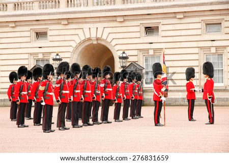 London, UK - September 6 2010 : changing of the guard in Buckingham Palace in London, Great Britain - stock photo