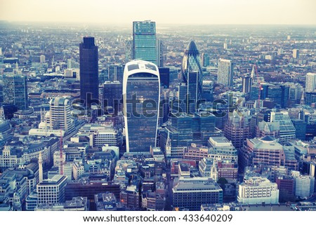 LONDON, UK - SEPTEMBER 17, 2015: City of London panorama, banking and business aria