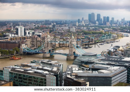 LONDON, UK - SEPTEMBER 17, 2015: London panorama with River Thames, Tower bridge and Canary Wharf at the distance