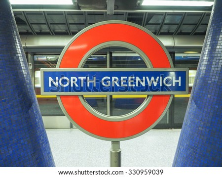 LONDON, UK - SEPTEMBER 29, 2015: London Underground sign at North Greenwich tube station