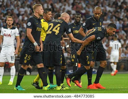 LONDON, UK - SEPTEMBER 14, 2016: Nabil Dirar of Monaco (7) leaves the pitch after an injury during the UEFA Champions League Group E game between Tottenham Hotspur and AS Monaco on Wembley Stadium.