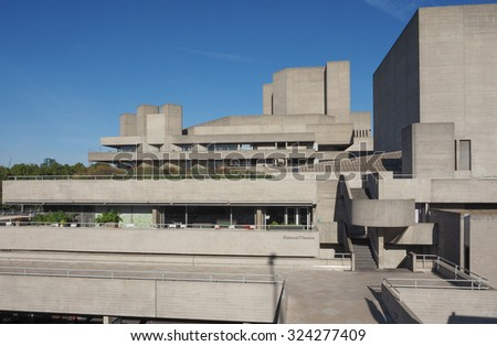 LONDON, UK - SEPTEMBER 28, 2015: The National Theatre designed by Sir Denys Lasdun is a masterpiece of new brutalist architecture