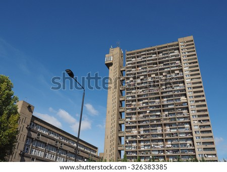 LONDON, UK - SEPTEMBER 28, 2015: The Trellick Tower designed by Erno Goldfinger in 1964 is a masterpiece of new brutalist architecture