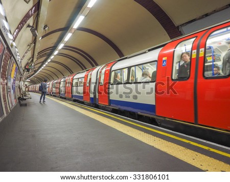 LONDON, UK - SEPTEMBER 29, 2015: Tube train at platform at Chalk Farm station on the Northern Line - stock photo