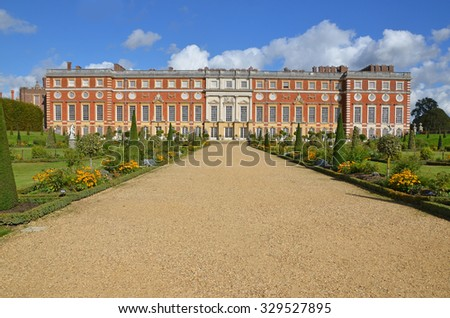 London, UK - September 25, 2015: view of Hampton Court Palace from the Privy Garden, a restoration of the garden in 1702.