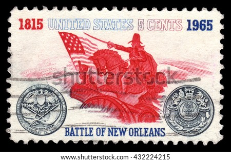 London, UK, September 17 2010 - Vintage 1965 United States of America cancelled postage stamp showing USA vintage postage stamp showing the Battle of New Orleans of 1815