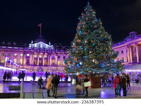 LONDON, UK - 6TH DECEMBER 2014: The beautiful Somerset House in London during Christmastime on 6th December 2014. - stock photo