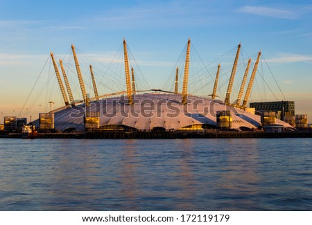 LONDON, UK - 19th JANUARY 2013:  A closeup to the outside of the O2 Arena in London from across the River Thames - stock photo