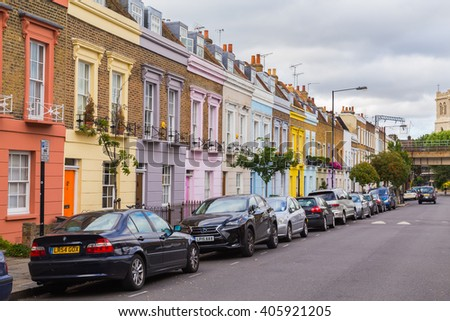 LONDON, UK - 20TH JULY 2015: Colorful buildings along Hartland Road in Camden during the day. - stock photo