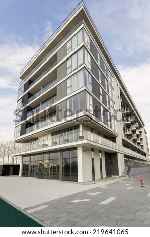 LONDON, UK - 26th JULY 2014: Modern and expensive block in London,UK 2014 - stock photo
