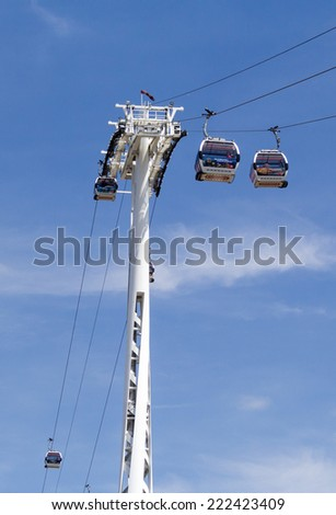 LONDON, UK - 15th JULY 2014: ,Thames cable car operated by Emirates Air Line in London on 15 July 2014 - stock photo