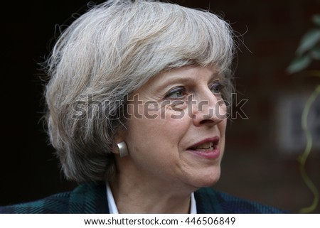 London, UK, 30th June, 2016. Theresa May arrives at Hampstead and Kilburn constituents house to give a short talk - stock photo